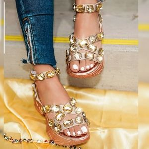 Diamond Ankle Buckle Sandals
